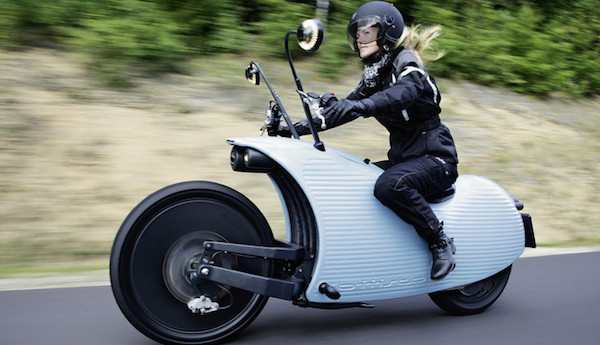No need for a front fender. The body work shields the rider from anything to shoot off the front tire.