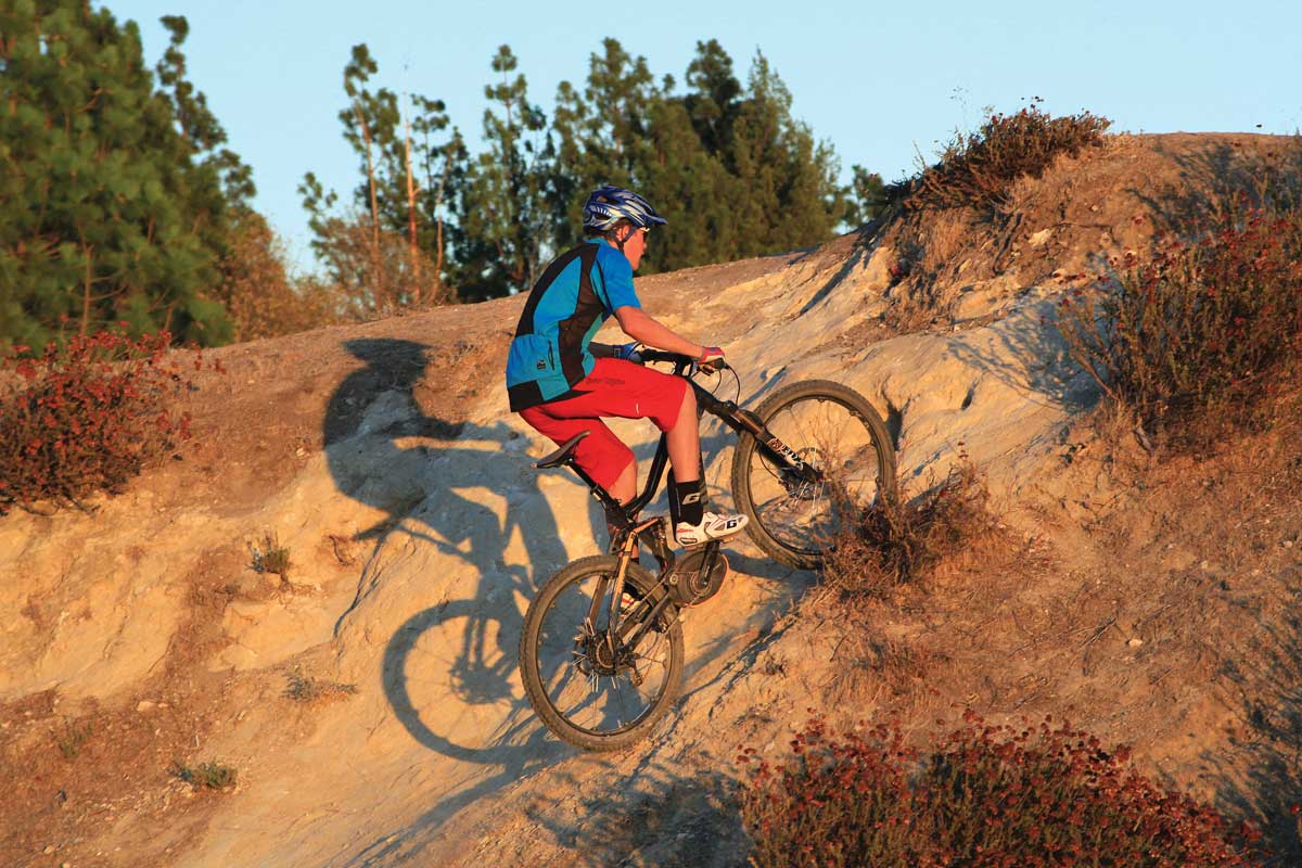 Man trail riding the Haibike Xduro AMT Pro 27.5
