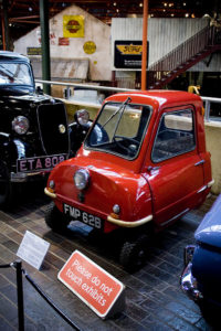 Peel P50, a tiny one-person car that was the smallest one-person car ever in production. Courtesy of Flickr user Paul Sturgess (@odetothesea).