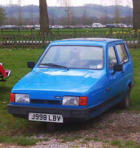 A 1992 Reliant Robin, image courtesy of Flickr user John Morris.