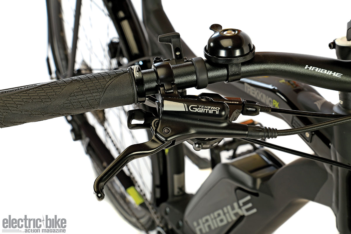 Haibike-specified Tektro brake components fit the Xduro Trekking. It wasa good choice.