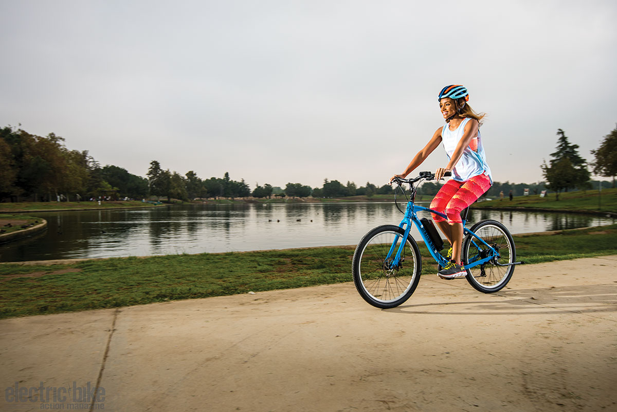 Celebrity guest rider Meagan Tandy loved riding the Coeus. It was her first ride on an electric bike, and she was hooked.