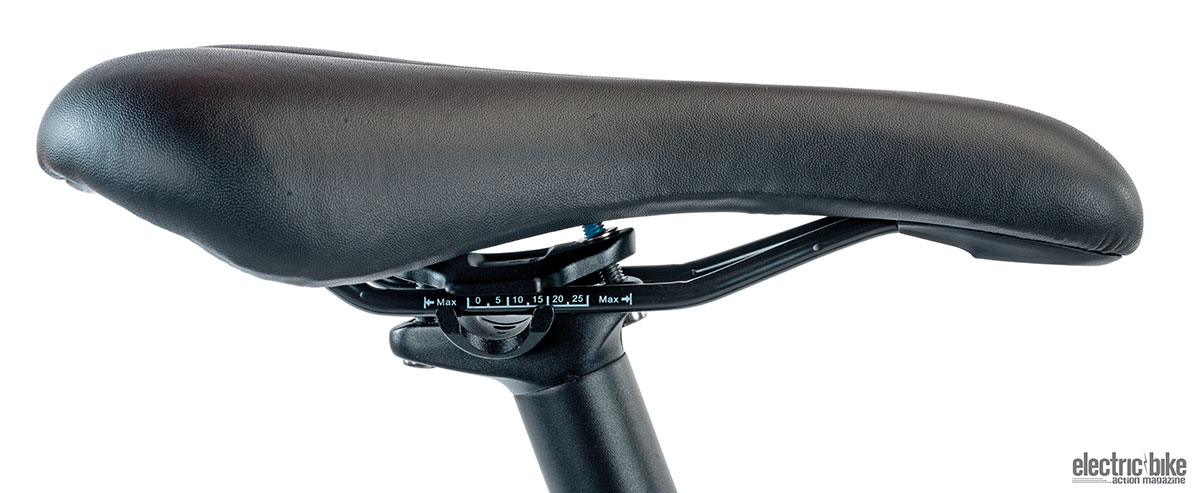 The racing-style saddle is comfortable and has just the right amount of padding.