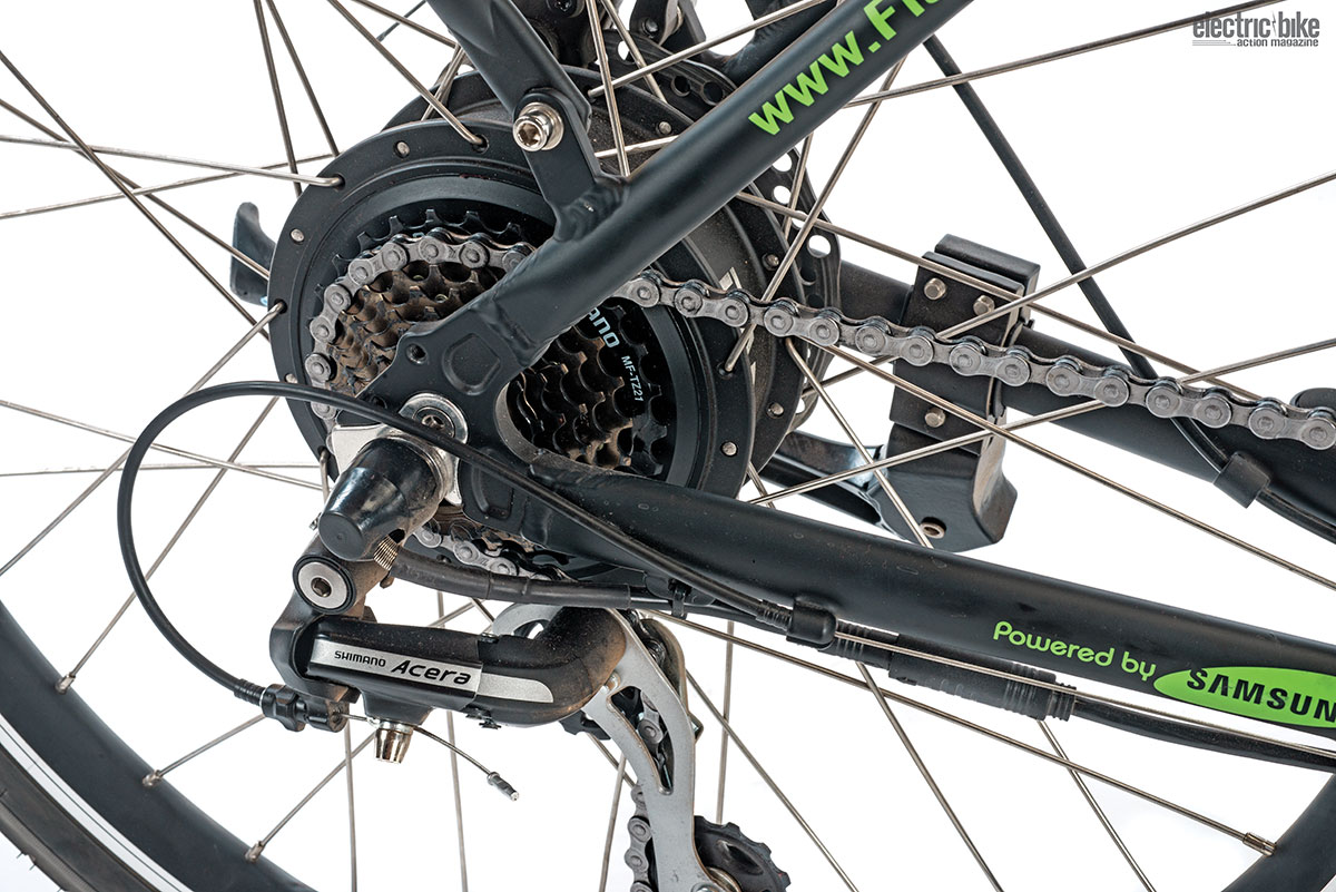 The Shimano seven-speed cassette shifted true, but we found we ran out of gears easily on flat ground.