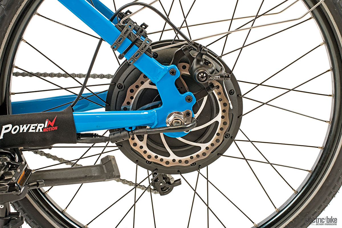 The Tektro mechanical disc brakes don't even come close to hiding the hub motor. They're adequate, but by the time you read this, they'll be replaced by Magura MT4E hydraulic disc brakes.