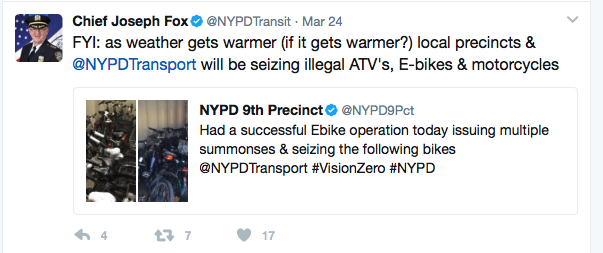 NYPD Crackdown on bikes