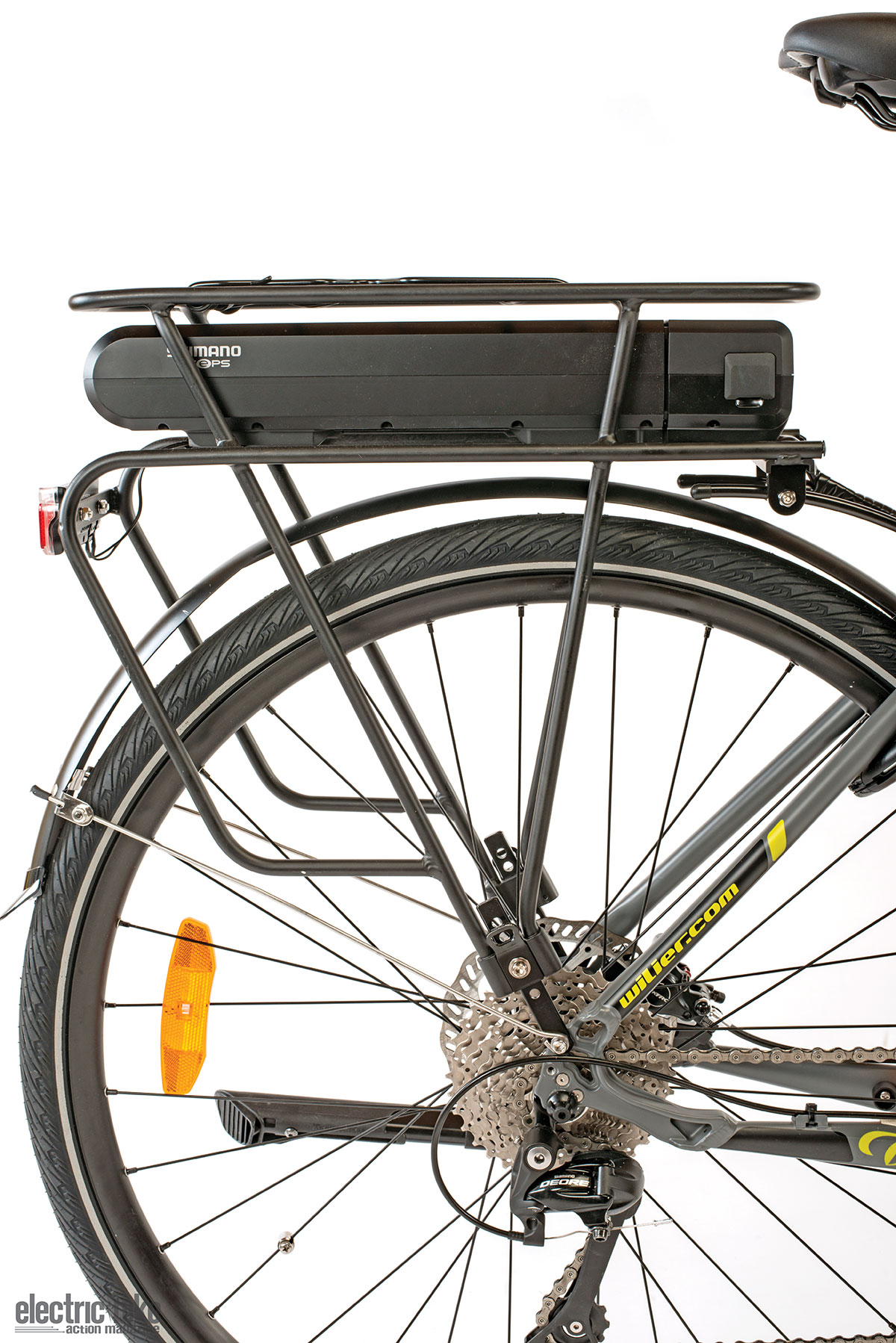 The rear rack of the bike is a great thing to have. The battery makes the back end heavy, but with a mid-drive motor, it balances it out.