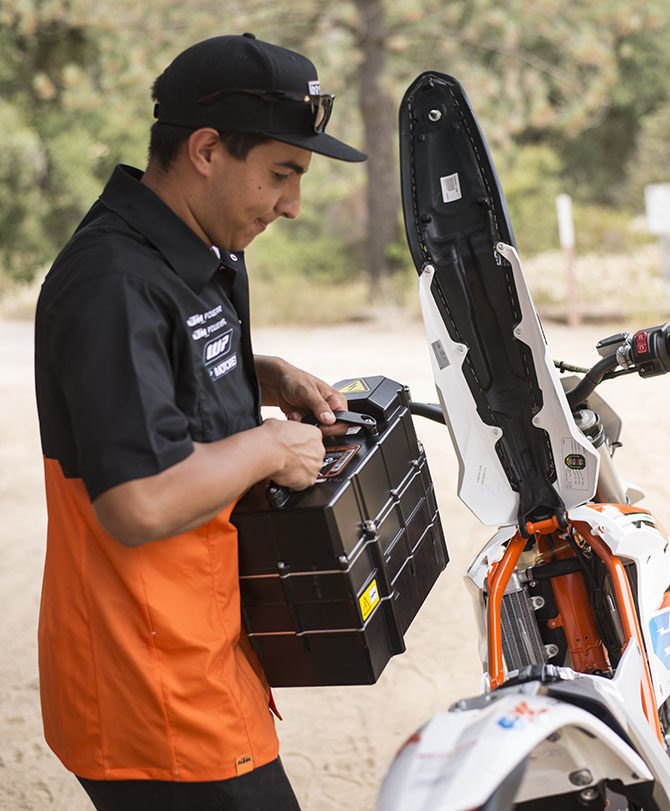 Swapping the battery on the KTM Freeride_E-XC_90 Electric Motocross Motorcycle